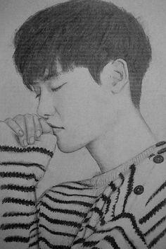 https://flic.kr/p/s1ec9W   Lee Jong-suk   my charcoal and pencil sketch