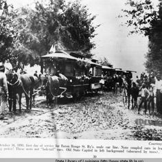 Street cars pulled by mules in Baton Rouge Louisiana in 1890 :: State Library of Louisiana Historic Photograph Collection