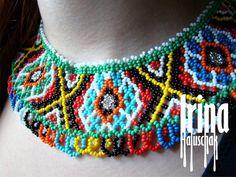 Ukrainian traditional necklace. Beaded collar. Silyanka. Gerdan. Силянка