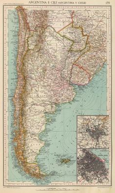 Map of Chile and Argentina, scale 1:10.000.000 published in 1929 by the Touring Club Italiano de Milano and showing Picton and Nueva Islands under Argentine souvereignty