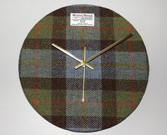 Large Hunting Macleod HARRIS TWEED Covered Wall Clock - Handmade to Order in the Outer Hebrides