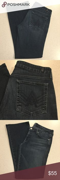 "7 For All Mankind Jeans 32X32.5 A Pocket New NYD! 7 for all mankind jeans A pocket flare Nouveau New York dark wash Size 32 (hard to find size!) 32.5 inch inseam Beautiful medium to dark wash with beautiful fading Stretch medium weight denim ""The ""A"" Pocket  is a slight flare with a contoured waistband and our signature ""A"" back pockets"" 