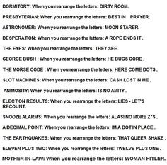 20 Best Amazing Anagrams images in 2013   Clean puns, Funny