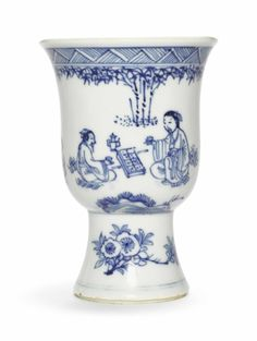 A blue and white stem cup, 17th century