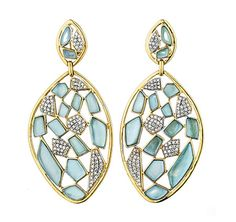 """From designer Kara Ross, the """"Mosaic"""" drop earrings are awash in fresh, watery-blue tones, featuring sky-blue topaz and pavé-set diamonds, in 18-kt gold. $35,000."""