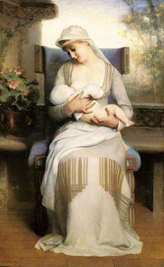 Émile Lévy --- Young Mother Feeding Her Baby, 1881. #nursing #breastfeeding