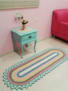 Kitchen Carpet Runners Non Slip Product Crochet Doily Rug, Crochet Carpet, Crochet Basket Pattern, Crochet Home, Crochet Crafts, Crochet Stitches, Crochet Projects, Knit Crochet, Crochet Patterns