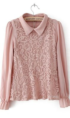 Dull pink lace shirt with elasticized cuff for women.  Rare color in lace shirts.