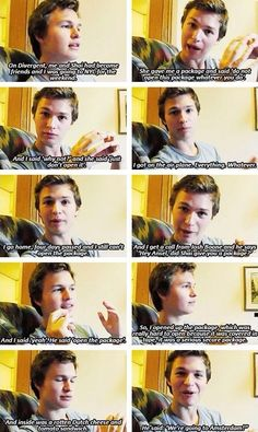 The fact that Ansel is playing in two of these great movies is just ahhh. And look at him. AH. This is how he found out he got the part in TFIOS #perfection