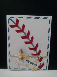 Stampin' Up! Baseball card with chevron punch