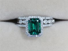 Three Rings  2.33ct Emerald Ring with Two Diamond by AbbyandWills