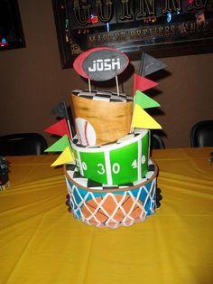 Birthdays ESPN sports Nascar baseball football basketball flags topsy turvy red green blue brown black yellow white cake