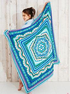 Crochet Square Pattern Ravelry: Cosmic Cal pattern by Helen Shrimpton - Crochet Mandala Pattern, Granny Square Crochet Pattern, Crochet Flower Patterns, Crochet Squares, Crochet Afghans, Crochet Blankets, Crochet Gratis, Free Crochet, Crochet Baby