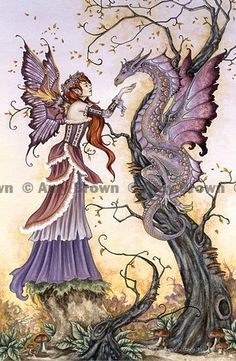 Amy Brown art: Fairy and Dragon