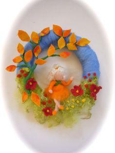 Autumn Fall Wreath.Fairy. Needle Felted. Waldorf.Door by FilzArts, $47.50