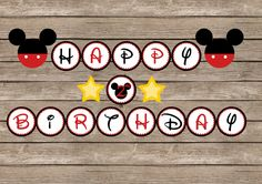 Mickey mouse Happy Birthday Banner - 5 inch circles. $10.00, via Etsy.