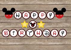Mickey mouse Happy Birthday Banner - 5 inch circles. $10.00, via Etsy.