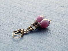 Ohrringe - Mauve Opaque von Perlenfontäne auf DaWanda.com