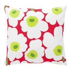 Poppies for your patio party. This fabric is designed for outdoor use due to its mildew and UV-resistance. Marimekko Unikko Red/White/Green Outdoor Throw Pillow - Was: $69 Now: $55 (20% off)