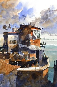 Iain Stewart - Rooftops and the Bosphorus- Istanbul x watercolor Watercolor City, Watercolor Artists, Watercolor Animals, Watercolor Landscape, Watercolor And Ink, Watercolour Paintings, Watercolours, Cityscape Art, Draw On Photos