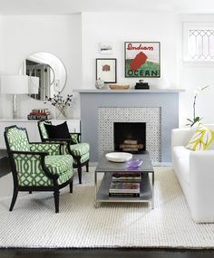 Clean lines for fireplace mantle