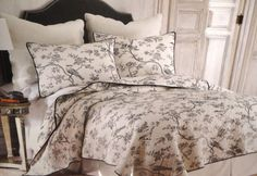 Lyon Black White TOILE BIRD French Country FULL QUEEN QUILT 3pc QUILT SET #FrenchCountry