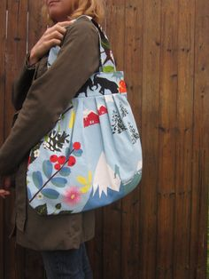 Blue montain landscape tote bag by keriBdesigns on Etsy, $47.00