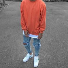 Orange sweatshirt layered over white tee, heavily distressed denim with white & green Air Force = Major Flamer Miami Hurricane Colored fit! Stylish Mens Outfits, Casual Outfits, Men Casual, Air Force 1 Outfit, Sneakers Mode, Men's Fashion Sneakers, Sneakers Outfit Men, Adidas Fashion, Nike Sneakers
