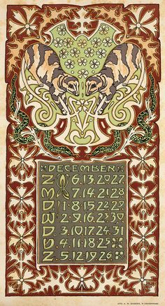 ¤ Leo Visser. calendar december 1903. Holly and snakes. Art Nouveau
