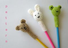 Crochet Animal Pencil Toppers ~ Pure Craft