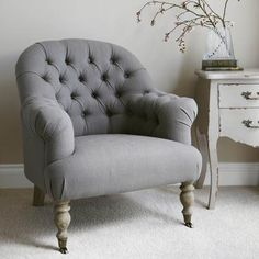 Linen Button Back Armchair - Grey  by Primrose