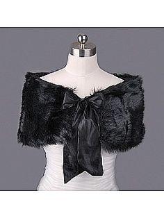 af91b00c0a9 Black Faux Fur Bridal Wrap with Satin Sash - USD  9.99 Wedding Jacket