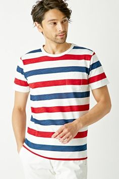 [ikka]スラブPTボーダーTシャツ  Red and White Striped shirt on Shopstyle.co.jp
