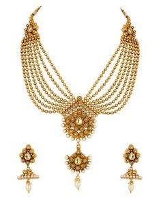 Necklace Set with Pearl Studded Pendant; Seven Bead Strands; Jhumkis