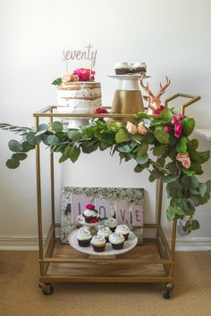 Fun bar cart: http://www.stylemepretty.com/2015/05/06/a-whimsical-and-intimate-garden-brunch/ | Styling: Little Miss Party - http://littlemisspartyplanner.com/