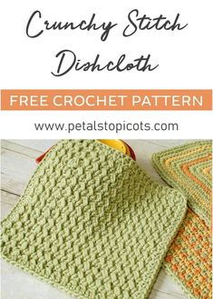 This crunchy stitch crochet dishcloth pattern features a fun and easy stitch that gives a great textured design. The pattern uses only two basics stitches, slip stitches and half double crochets, b… Tunisian Crochet, Knit Or Crochet, Crochet Crafts, Easy Crochet, Crochet Humor, Crochet Projects, Crochet Mandala, Slip Stitch Crochet, Crochet Ideas