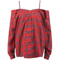 Sans Souci Red open shoulder button down plaid shirt (6.340 HUF) ❤ liked on Polyvore featuring tops, shirts, red, open shoulder shirt, plaid top, red top, button down shirt and red plaid shirt