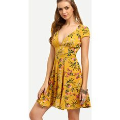 SheIn(sheinside) Yellow Floral V Neck Cutout Dress ($24) ❤ liked on Polyvore featuring dresses, yellow, deep v neck dress, short yellow dress, floral dresses, short beach dresses and short floral dresses