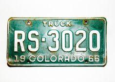 Vintage Colorado License Plate 1966 RS 3020