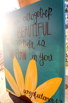 Song of Solomon painting with daisy on canvas by colorsoncanvas, $45.00