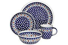 Blue Rose Polish Pottery: Nature 4-Piece Dinner Set