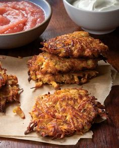 Sweet Potato Apple Latkes Recipe (see the paleo matzo recipe in the paleo-bread board for matzo meal -- ground matzos) Sweet Potato And Apple, Sweet Potato Pancakes, Matzo Meal, Potato Latkes, Jewish Recipes, Hanukkah Recipes, Holiday Recipes, Cooking Recipes, Healthy Recipes