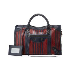 Balenciaga Classic Colorblock Striped Edge City Bag (6.905 BRL) ❤ liked on Polyvore featuring bags, handbags, stripe, totes, balenciaga handbags, studded handbags, zip purse, balenciaga purse and studded purse
