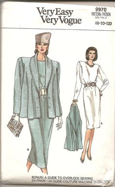 Vintage Sewing Patterns Vogue 1980s 9970 Dress by TenderLane, $12.00
