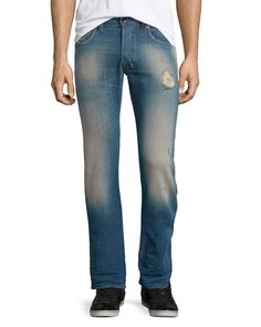 Safado 0854V Distressed Denim Jeans, Medium Blue