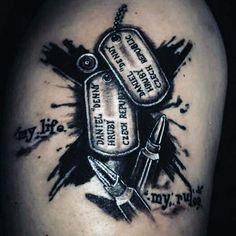 Dog tag ideas abstract dog tag tattoo ideas for men military dog tag tattoo designs . Patriotische Tattoos, Army Tattoos, Military Tattoos, Sleeve Tattoos, Cool Tattoos, Warrior Tattoos, Tattoo Ink, Tatoos, Kugel Tattoo