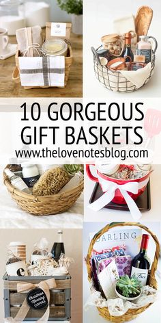Gift Basket Ideas More Here are 10 gorgeous gift baskets you can put together yourself. These themed baskets can make the perfect gift for holidays, birthdays, or any occasion. Thank You Gift Baskets, Gift Baskets For Women, Holiday Gift Baskets, Themed Gift Baskets, Wine Gift Baskets, Gift Basket Ideas, Best Gift Baskets, Christmas Present Basket Ideas, Gift Baskets For Families