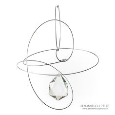 Artwork n.55 - Size: 30x24 cm - Materials: Spring steel and glass. | Opera n°55 - Dimensioni: 30x24 cm - Materiali: Acciaio armonico e vetro. | http://www.pendantsculpture.eu