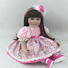 NPK Collection Reborn Baby Doll realistic baby dolls Vinyl Silicone Babies 55cm 22inch Beautiful Dress Doll Childrens birthday gift Christmas gift Red flower dress doll * Check out the image by visiting the link.