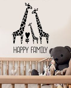 Vinyl Wall Decal Giraffe Family Nursery Children's Room Decor Stickers (ig3532)